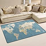 Naanle Education Area Rug 3'x5', World Map Polyester Area Rug Mat for Living Dining Dorm Room Bedroom Home Decorative