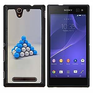 EJOOY---Cubierta de la caja de protección para la piel dura ** Sony Xperia C3 ** --Bolas azules