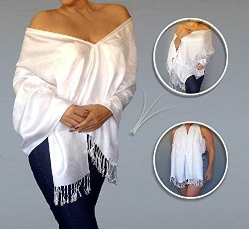 Occasions Bridal Evening Wear - Thicker White Shawl Wedding Pashmina Wrap Meditation Shawl By ZiiCi