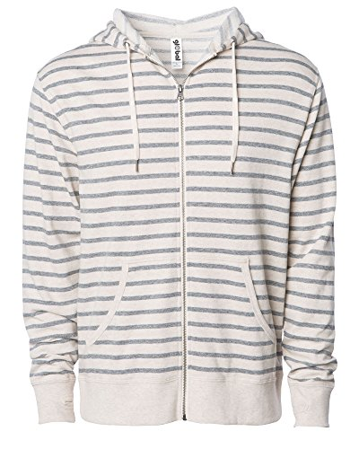 Global Slim Fit French Terry Lightweight Zip Up Hoodie for Men and Women (XX-Large, Off White/Grey Stripes)