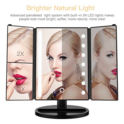 JessieCake - Tri Fold Makeup Vanity Mirror with 21 adjustable LED Lights, 3x/2x Magnification, Touch Screen and 180° Adjustable Rotation, Dual Power Supply, Countertop Cosmetic Mirror