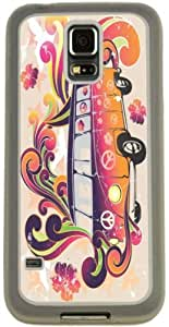Rikki KnightTM Beatle Peace Retro van - flower power Design Samsung? Galaxy S5 Case Cover (Clear Rubber with Bumper Protection) for Samsung Galaxy S5 i9600
