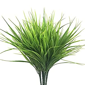 SzJias 4pcs Artificial Fake Grass Faux Plastic Wheat Grass UV Resistant Simulation Artificial Plants Greenery Flowers for Garden Floor Office Wedding Home Party Decor 35