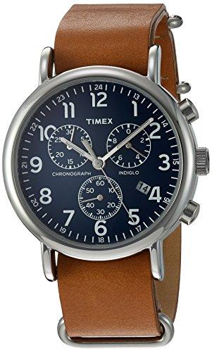 Timex TWG012800QM Unisex Weekender Chrono Tan Leather Strap Watch Gift Set + Navy Nylon Strap by Timex (Image #2)
