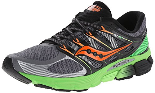 Saucony Men's Zealot ISO Running Shoe, Grey/Slime/Orange,12 M US