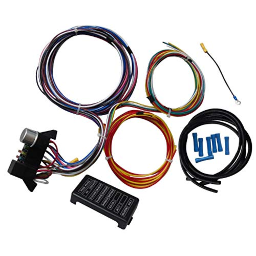 Leadmall Circuit Wiring Harness Kit - 12 Circuits Hot Rod Basic Wire Kit - Universal Standard Color Wiring Harness Kit for Car Truck (12 Circuit Universal Wires)