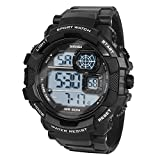 HIwatch Men's Sport Watches LED Military Watches and 50M Waterproof Casual Luminous Stopwatch Alarm Simple Army Watch, Electronic Analog Quartz Watches for Youth Students Gift, Black
