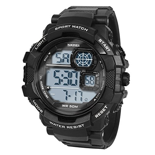 HIwatch Boys' Digital Sport Watches LED Military Watches and 50M Waterproof Casual Luminous Stopwatch Alarm Simple Army Watch, Electronic Large Face Watches for Men Youth Students Gift, Black by Hi Watch (Image #7)
