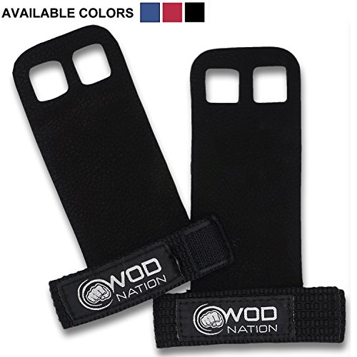 WOD Nation Leather Barbell Gymnastics Grips by Perfect for Pull-up Training, Kettlebells and CrossFit (Black - Medium)