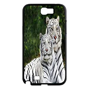 Qxhu Two the lovely white tiger Hard Plastic Back Protective case for Samsung Galaxy Note2 N7100