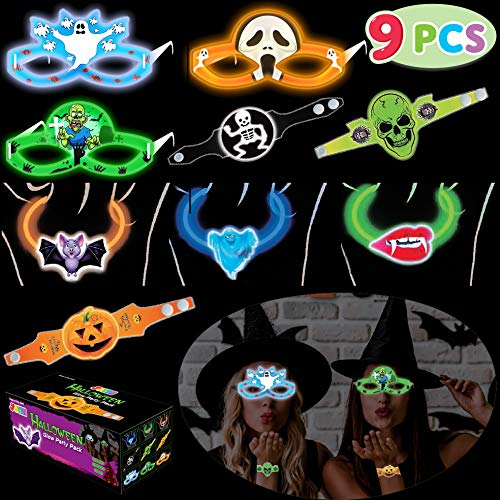 JOYIN 30 Pcs Halloween Glow Glasses Bracelet Necklace Set Includes 3 Glow Bracelets, 3 Glow Necklace, 3 Glow Eyeglasses for Halloween Glow in The Dark Party Favors and Decorations, Trick or Treating ()