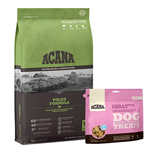 ACANA 25lb Paleo Dog Food with 3.25oz Lamb and Apple Treat