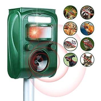 ... Exterior Resistente al Agua Repelente de Animales Ultrasónico con Carga Solar Sensor de Movimiento y Luz Intermitente Detector: Amazon.es: Jardín