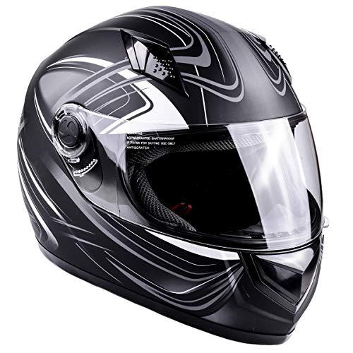 Typhoon Adult Full Face Motorcycle Helmet DOT (Matte Grey, Large) ()