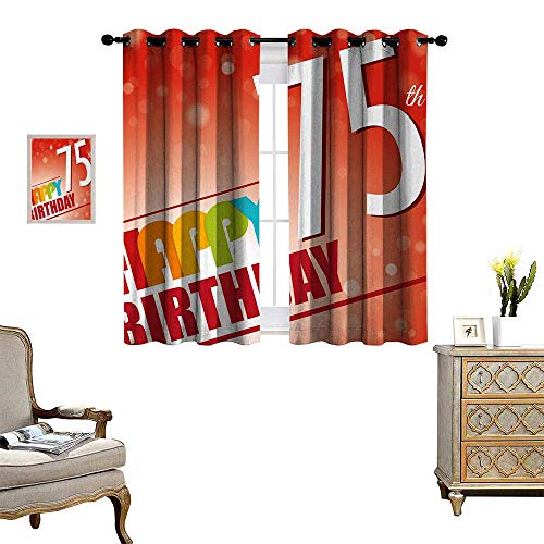 Anyangeight 75th Birthday Patterned Drape for Glass Door Old Age Seventy Five Years Old Party Invite in Retro Style Greeting Theme Waterproof Window Curtain W55 x L72 Multicolor ()