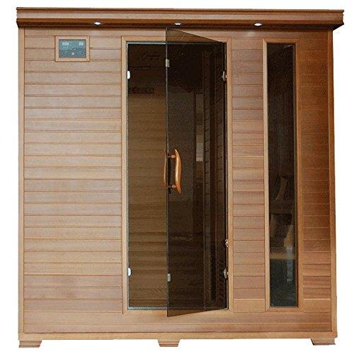 Great Bear SA1323 6 Person Cedar Corner Infrared Sauna with 10 Carbon Heaters Bronze Tinted Tempered Glass Door Oxygen Ionizer EZTouch Cortrol Panel CHROMOTHERAPY System and Sound System