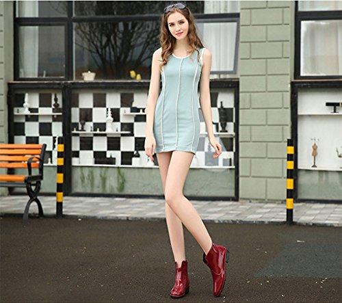 Sgoodshoes Damen Chelsea Boots Kurzstiefel Regenstiefel Gummistiefeletten Arbeitsstiefel Wasserdicht Rotwein