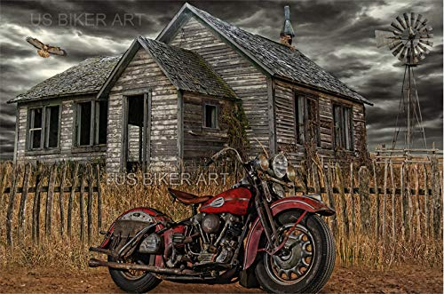 Harley Farms - Harley Davidson Knucklehead Vintage Country Farm Art Print