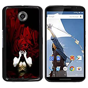 TopCaseStore / la caja del caucho duro de la cubierta de protección de la piel - Human Body Man Red Sheets Mask Hands - Motorola NEXUS 6 / X / Moto X Pro