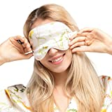 LILYSILK Floral Silk Eye Mask 100 Pure Mulberry 22 Momme Soft Breathable White Piping Eye Shadow Comfortable for Sleeping Travel Navy Blue