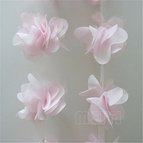 - 3 Meters 3D Chiffon Cluster Flowers Petals Leaves Lace Edge Trim Ribbon 5 cm Width Colourful Edging Trimmings Fabric Embroidered Applique Sewing Craft Wedding Bridal Dress DIY Decor (Pink)