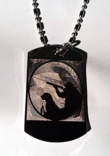 Duck Bird Deer Hunting Dog and Man with Shotgun Logo Symbols - Military Dog Tag Luggage Tag Key Chain Metal Chain Necklace
