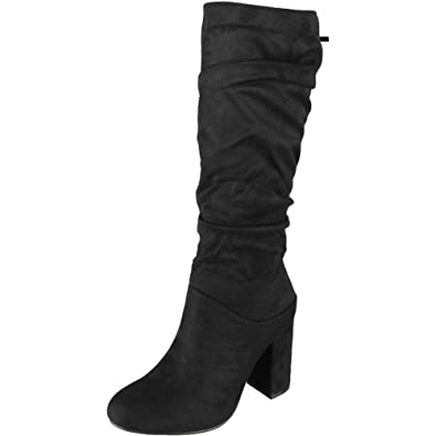 64672c3f40a Loud Look Womens Ladies Mid Calf Faux Suede Winter Zip High Heel Rouched  Casual Boots Size