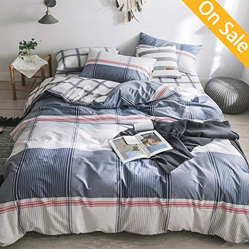 AMZTOP 【Latest Arrival】 Duvet Cover Blue Plaid Duvet Cover Queen Duvet Cover Men Duvet Cover for Kids Checked Geometric Duvet Cover Full Modern Comforter Cover for Boys Adults,NO Comforter NO Sheet