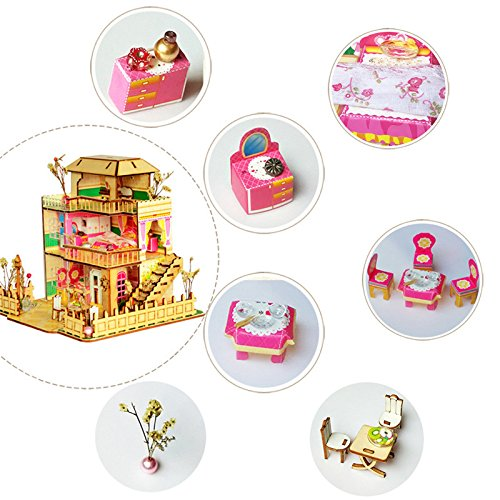 HITSAN Merry Provence House Room DIY Dollhouse Kit With LED Light Wood Decoration One Piece