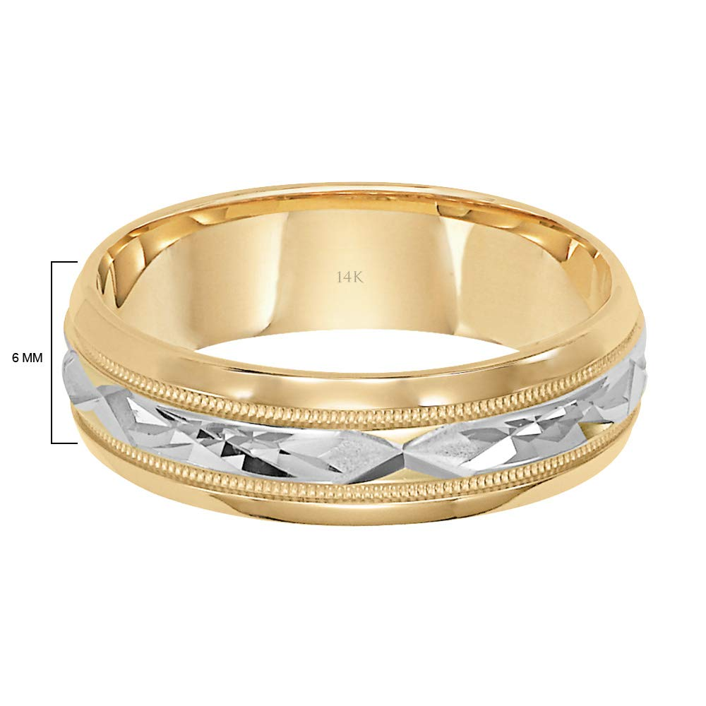 Brilliant Expressions 14K Yellow Gold Comfort Fit Wedding Band with White Gold Diamond Cut Details, 6mm, Size 10.5 by Brilliant Expressions (Image #4)