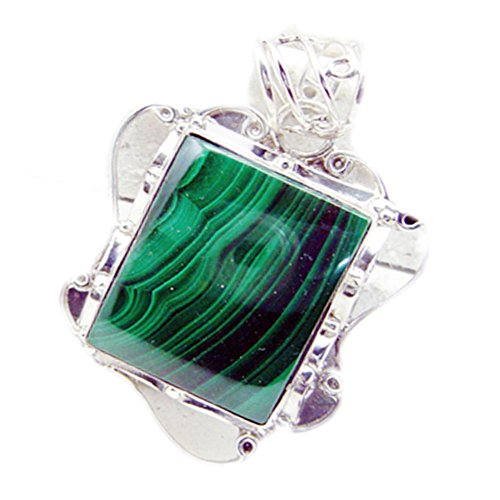 Caratyogi Natural Malachite Healing Stone Necklaces Sterling Silver Pendant Square Charms Bezel Style
