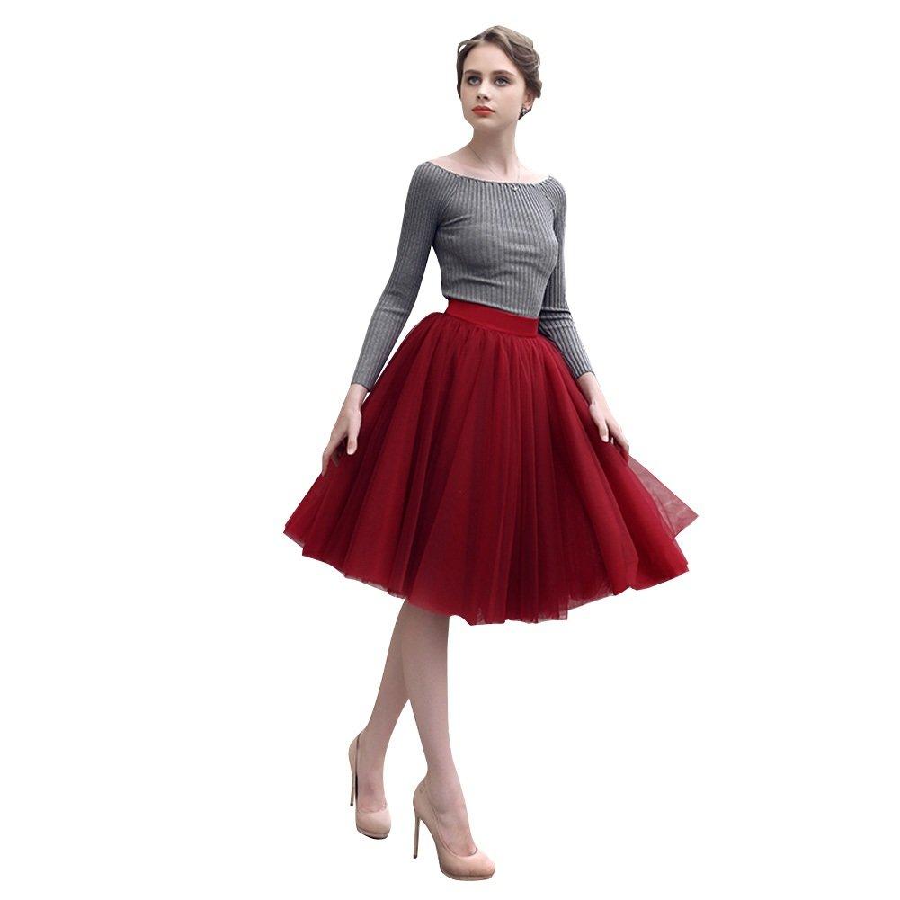 Preferhouse Women's Tulle Skirt Princess High Waist Knee Length 94493