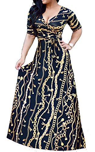 Women's Sexy Stylish V Neck Floral Long Maxi Dresses Casual Loose Half Sleeve Dress with Belt