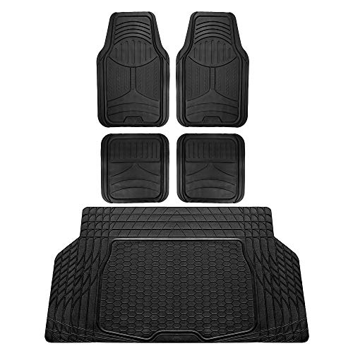 FH Group F11313 Monster Eye Full Set Rubber Floor Mats, Solid Black Color w. F16403 Trimmable Vinyl Trunk Liner/Cargo Mat Black- Fit Most Car, Truck, SUV, or Van