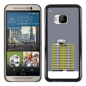 A-type Colorful Printed Hard Protective Back Case Cover Shell Skin for HTC One M9 ( Grey Yellow Building Robot Art Grey )
