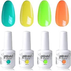 Elite99 UV LED Gel Nail Polish Varnish 15ML Soak off Nail Art Manicure Set 4 Colors with (20pcs Gel Remover Wraps) C192