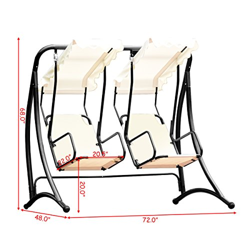 Tangkula Outdoor Patio Swing 2 Person Heavy Duty Steel Frame Hanging Seat with Canopy Porch Deck Swing Chair (Beige with Cloth seat)