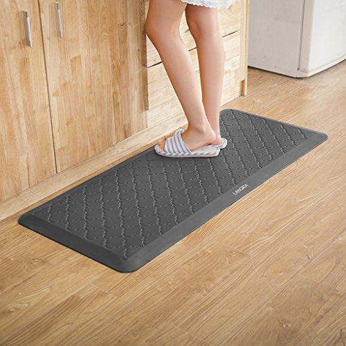 "LANGRIA Anti Fatigue Mats Comfort Mat 3/4'' Ergonomic Non Slip Design with Embossed Pattern, Waterproof, Non-Toxic for Office Kitchen Bathroom Garage Study Use, 20"" x 30"",Smoke Grey (Foot 1 Table Wide)"
