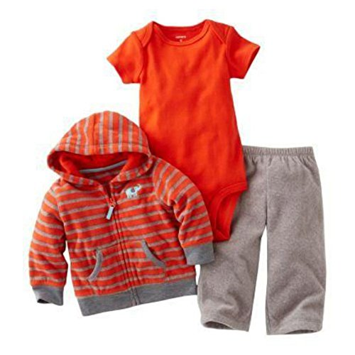 Carters Infant Boys Sweat Pants Creeper & Red Elephant Jacket Hoodie (Infant Sweatshirt And Sweatpants)