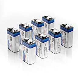 EBL 600mAh 9 Volt Li-ion Rechargeable 9V Batteries Lithium-ion, 8 Pack