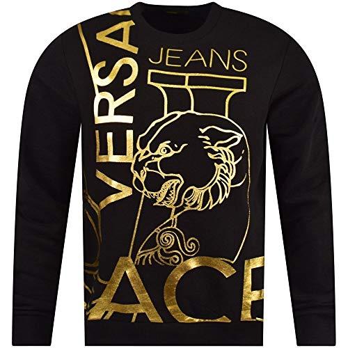 (Versace Jeans Cotton Round Neck Black/Gold Sweatshirt M Black)