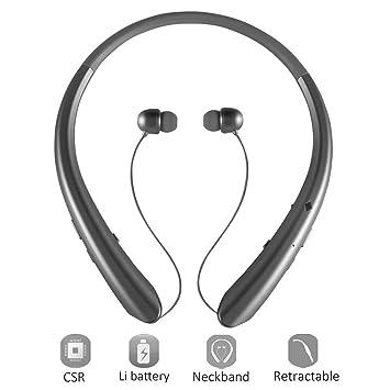 Bluetooth retráctil auriculares, auriculares inalámbricos estéreo con banda para el cuello auriculares manos libres deportes