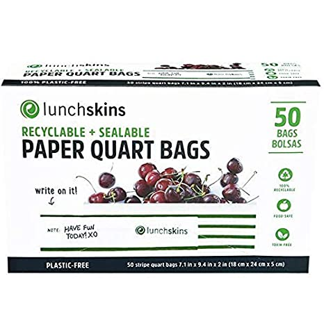 Lunchskins Recyclable + Sealable Paper Quart Sized Bags, 50 count, Green Stripe