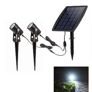 LED Landscape Solar Spot lights Waterproof Outdoor Solar Spotlight for Backyard Driveway Patio Gardens Lawn,Dusk to Dawn Auto On Off (6000K-Daylight)