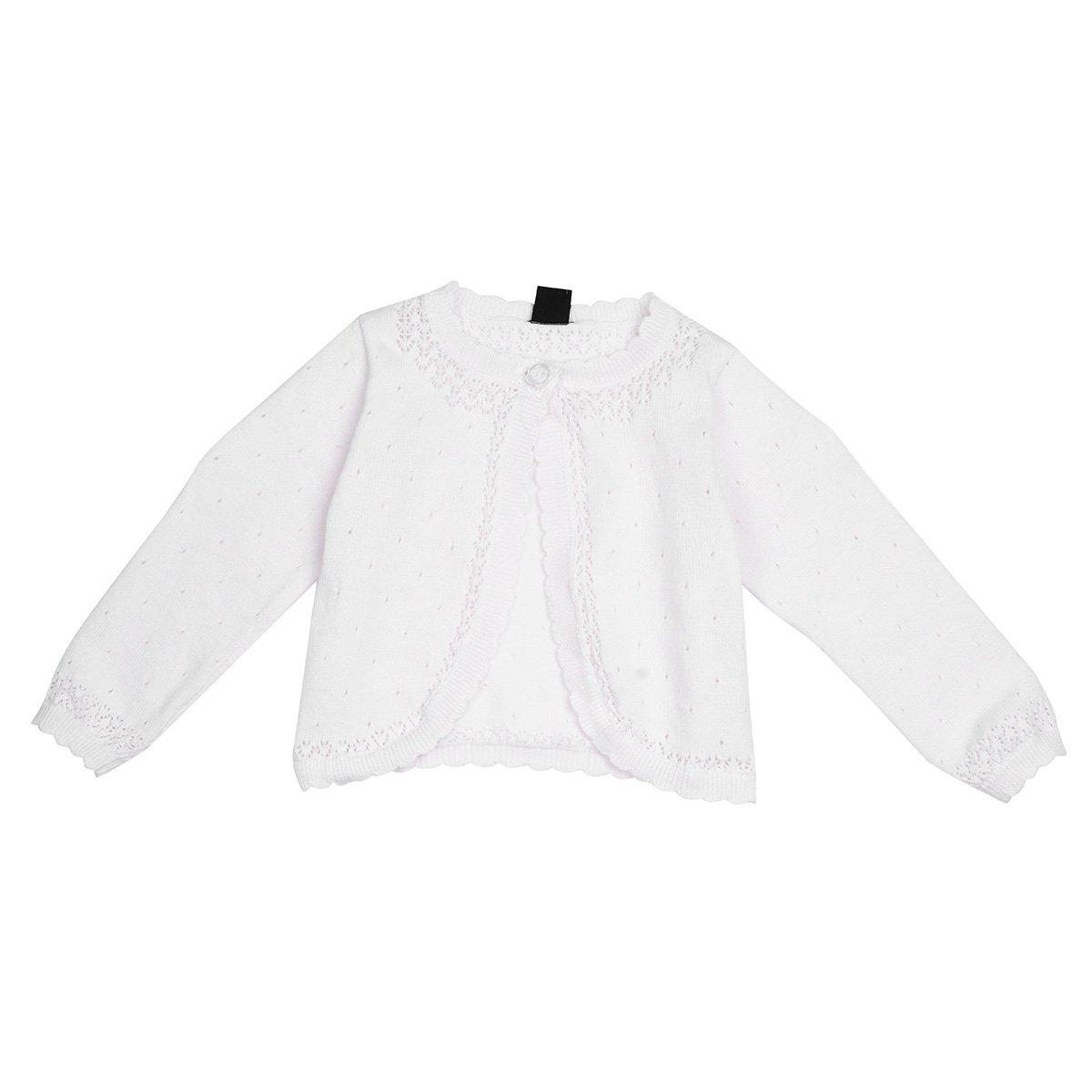 Freebily Kids Girls Long Sleeve Lace Flower Flower Bolero Jacket Shrug Short Cardigan Dress Cover Up White 12-18 Months