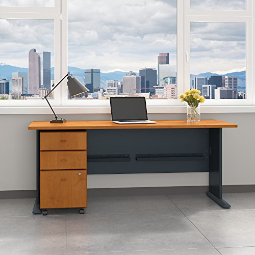 Bush Business Furniture Series A 72W Desk with Mobile File Cabinet in Natural Cherry and Slate ()