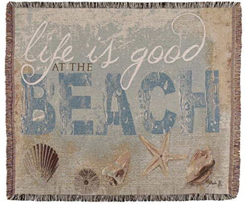 Simply Home Life Is Good Beach Tapestry Toss Blanket Throw USA Made SKU TPM970
