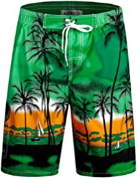 Men's Swimming Trunks with Pockets Beach Swimwear Quick Dry Elastic Waist Board Shorts
