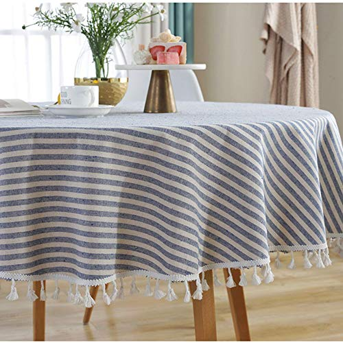 Lahome Stripe Tassel Tablecloth – Cotton Linen Table Cover Kitchen Dining Room Restaurant Party Decoration (Round – 60″, Blue)