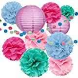 All-in-one Party Decoration Set - Comes with 2x Paper Lanterns, 4x Pom-Poms, and 2x Multi-colored streamers. Get everything you need to decorate in one easy bundle!  For any Occasion - Our beautiful Pom Pom Pack is perfect for all sorts of ev...